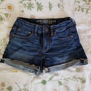 AE dark denim shorts